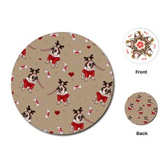 Pug Xmas Pattern Playing Cards (round)  by Valentinaart