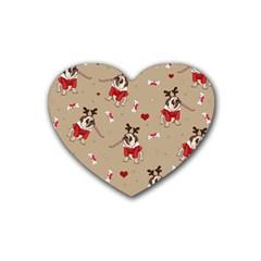 Pug Xmas Pattern Rubber Coaster (heart)  by Valentinaart