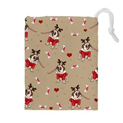 Pug Xmas Pattern Drawstring Pouches (extra Large) by Valentinaart