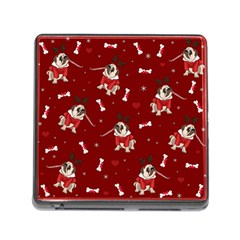 Pug Xmas Pattern Memory Card Reader (square) by Valentinaart