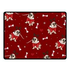 Pug Xmas Pattern Fleece Blanket (small) by Valentinaart