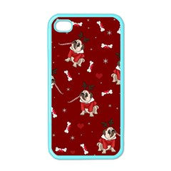 Pug Xmas Pattern Apple Iphone 4 Case (color) by Valentinaart