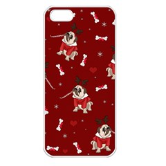 Pug Xmas Pattern Apple Iphone 5 Seamless Case (white) by Valentinaart