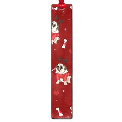 Pug Xmas Pattern Large Book Marks by Valentinaart