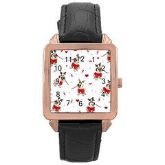 Pug Xmas Pattern Rose Gold Leather Watch