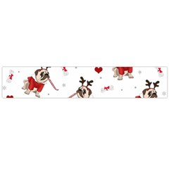 Pug Xmas Pattern Large Flano Scarf  by Valentinaart