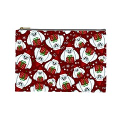 Yeti Xmas Pattern Cosmetic Bag (large)  by Valentinaart