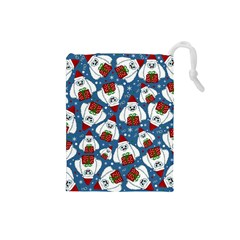Yeti Xmas Pattern Drawstring Pouches (small)  by Valentinaart