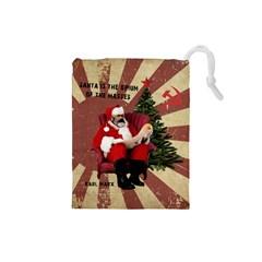 Karl Marx Santa  Drawstring Pouches (small)  by Valentinaart