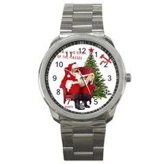 Karl Marx Santa  Sport Metal Watch by Valentinaart