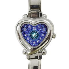Accordant Electric Blue Fractal Flower Mandala Heart Italian Charm Watch by beautifulfractals