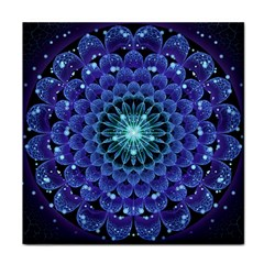Accordant Electric Blue Fractal Flower Mandala Face Towel by beautifulfractals