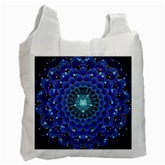 Accordant Electric Blue Fractal Flower Mandala Recycle Bag (one Side) by beautifulfractals