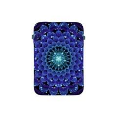 Accordant Electric Blue Fractal Flower Mandala Apple Ipad Mini Protective Soft Cases by jayaprime