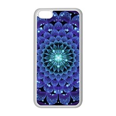 Accordant Electric Blue Fractal Flower Mandala Apple Iphone 5c Seamless Case (white) by beautifulfractals