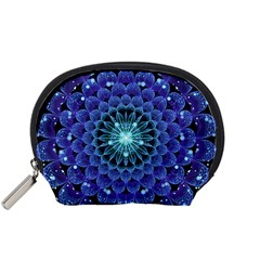 Accordant Electric Blue Fractal Flower Mandala Accessory Pouches (small)  by beautifulfractals