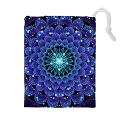 Accordant Electric Blue Fractal Flower Mandala Drawstring Pouches (extra Large) by beautifulfractals