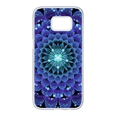 Accordant Electric Blue Fractal Flower Mandala Samsung Galaxy S7 Edge White Seamless Case by beautifulfractals