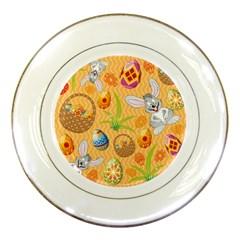 Easter Bunny And Egg Basket Porcelain Plates