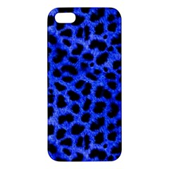 Blue Cheetah Print  Apple Iphone 5 Premium Hardshell Case by allthingseveryone