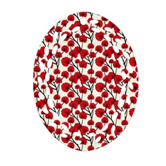 Red Flowers Ornament (oval Filigree) by allthingseveryone