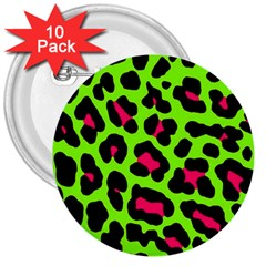 Neon Green Leopard Print 3  Buttons (10 Pack)  by AllThingsEveryone