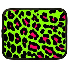 Neon Green Leopard Print Netbook Case (xl)  by AllThingsEveryone