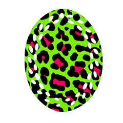 Neon Green Leopard Print Oval Filigree Ornament (two Sides) by AllThingsEveryone
