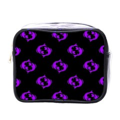 Purple Pisces On Black Background Mini Toiletries Bags by allthingseveryone