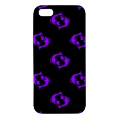Purple Pisces On Black Background Apple Iphone 5 Premium Hardshell Case by allthingseveryone