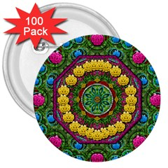 Bohemian Chic In Fantasy Style 3  Buttons (100 Pack)  by pepitasart