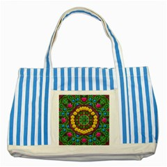 Bohemian Chic In Fantasy Style Striped Blue Tote Bag by pepitasart