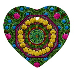 Bohemian Chic In Fantasy Style Heart Ornament (two Sides) by pepitasart