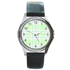 Green Pastel Plaid Round Metal Watch by AllThingsEveryone