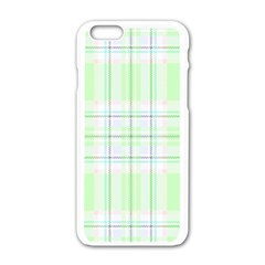 Green Pastel Plaid Apple Iphone 6/6s White Enamel Case by AllThingsEveryone