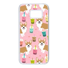 Corgi Bubble Tea Boba Tea Fabric Cute Samsung Galaxy S7 White Seamless Case by Celenk