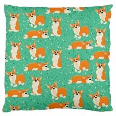 Corgi Dog Wrap Large Flano Cushion Case (two Sides) by Celenk