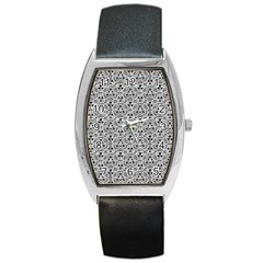 Hand Drawing Tribal Black White Barrel Style Metal Watch by Cveti