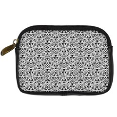 Hand Drawing Tribal Black White Digital Camera Cases by Cveti