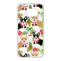 Hula Corgis Fabric Samsung Galaxy S7 Edge White Seamless Case by Celenk