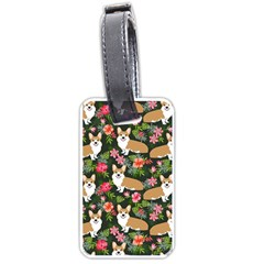 Welsh Corgi Hawaiian Pattern Florals Tropical Summer Dog Luggage Tags (two Sides) by Celenk