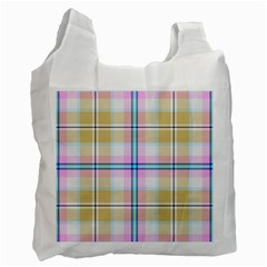 Pink And Yellow Plaid Recycle Bag (one Side) by allthingseveryone