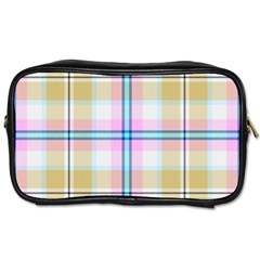 Pink And Yellow Plaid Toiletries Bags by allthingseveryone