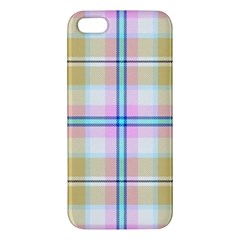 Pink And Yellow Plaid Apple Iphone 5 Premium Hardshell Case by allthingseveryone