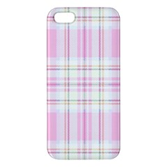 Pink Pastel Plaid Apple Iphone 5 Premium Hardshell Case by allthingseveryone
