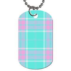 Blue And Pink Pastel Plaid Dog Tag (one Side)