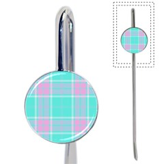 Blue And Pink Pastel Plaid Book Mark by allthingseveryone
