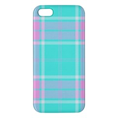 Blue And Pink Pastel Plaid Apple Iphone 5 Premium Hardshell Case by allthingseveryone