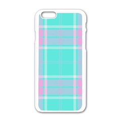 Blue And Pink Pastel Plaid Apple Iphone 6/6s White Enamel Case by allthingseveryone