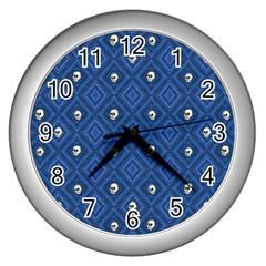 Funny Little Skull Pattern, Blue Wall Clocks (silver)  by MoreColorsinLife